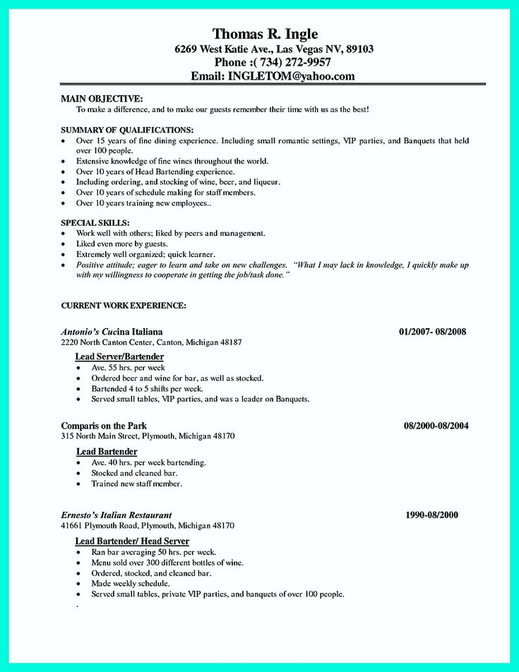 nice Cocktail Server Resume Skills to Convince Restaurants or Café,