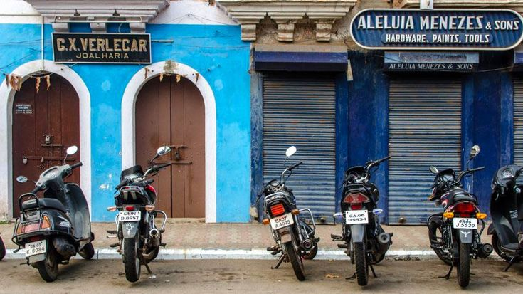 Plenty of scooters and vibrant Goan colour in Panjim's old quarter.