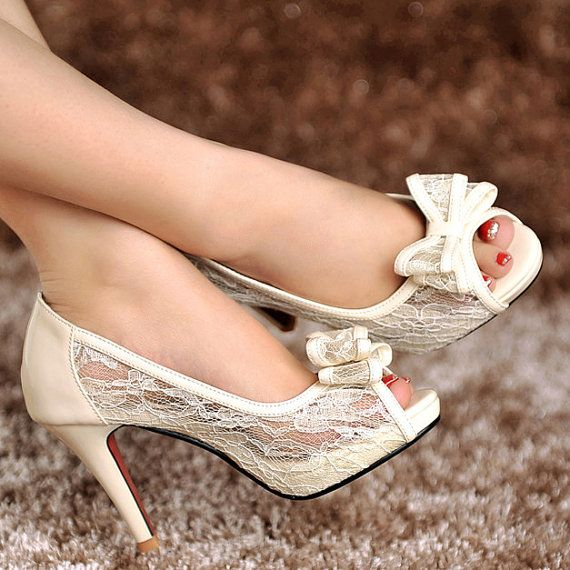 Vintage style ivory white lace genuine leather wedding shoes Bride / Bridesmaids shoes transparent crystal sandals  high heels lace shoes on Etsy, $69.99