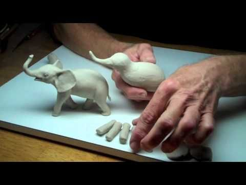 Learn clay sculpture with professional sculptor Chuck Oldham at http://www.LearnSculpture.org. This is Lesson 3, Part 1, sculpting animals (a baby elephant) ...