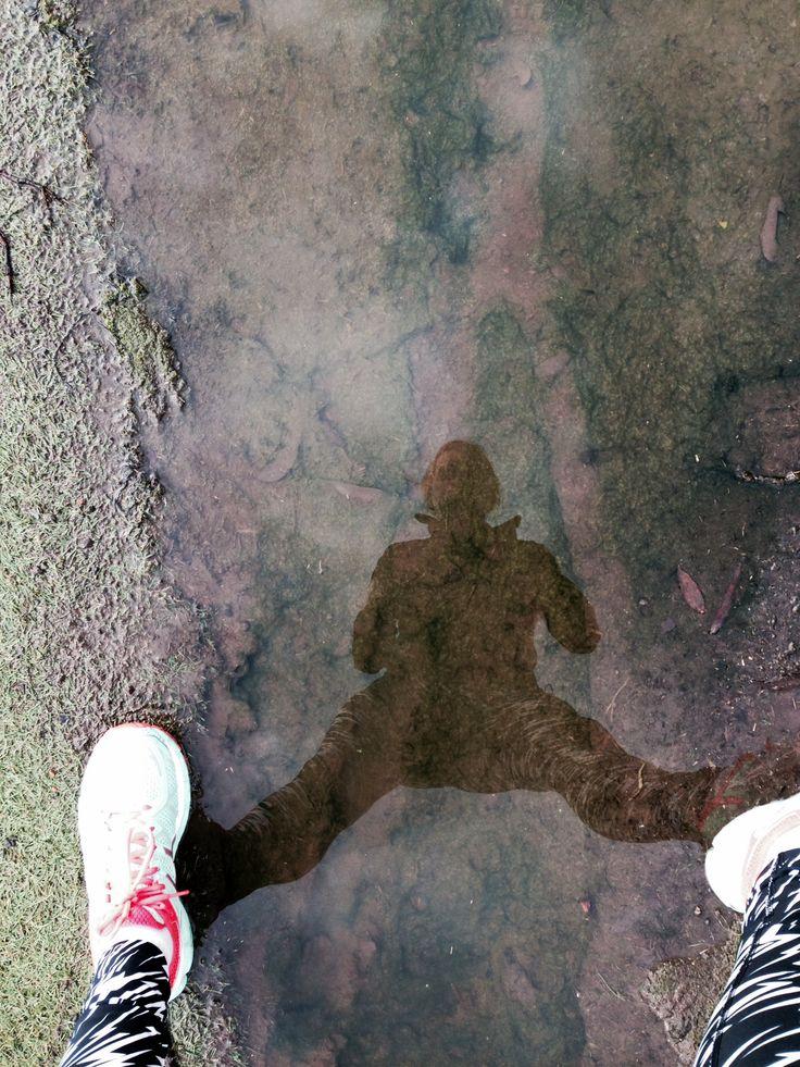my weekend run- dodging puddles!