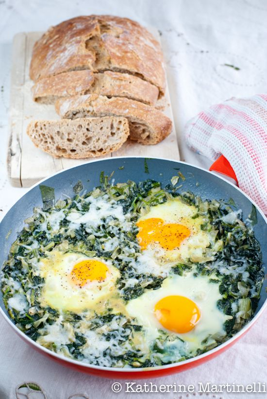 Green Shakshuka: eggs are cooked in spinach instead of tomatoes. It's fresh, healthy, and immensely satisfying and makes for a great breakfast, lunch, or light supper