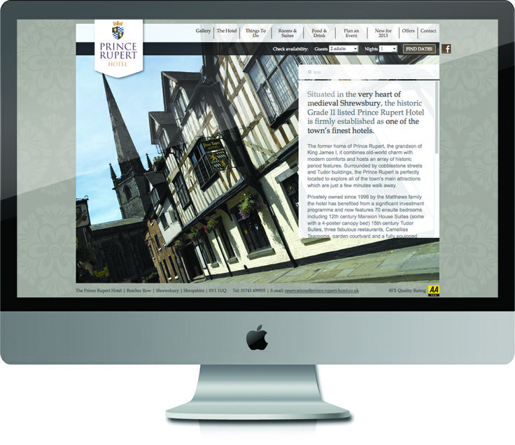 Website Design and Program for this Shrewsbury Hotel.  #SourceDesign #Shrewsbury #Hotel #WebDesign