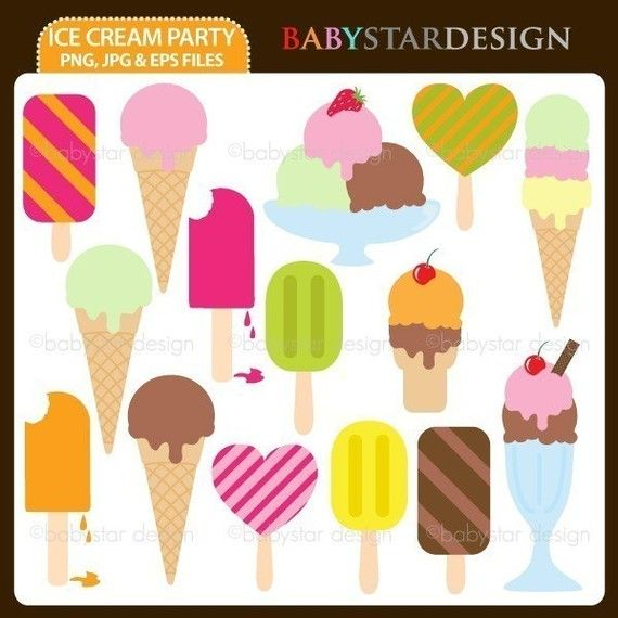 Ice Cream Party Clipart Set INSTANT DOWNLOAD