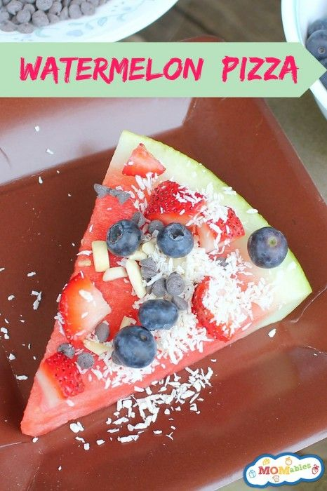 Watermelon Pizza - healthy snack or dessert, tons of toppings in this list! (Side note: Coconut shreds or shaved white chocolate to represent cheese! Too cute for kids, and healthy too. Sliced pears and/or grapes add fiber to their diet and help soften poo, which makes potty training easier!)