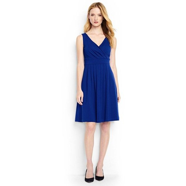 Lands' End Women's Petite Fit and Flare Dress (€51) ❤ liked on Polyvore featuring dresses, blue, petite summer dresses, blue fit-and-flare dresses, fit and flare summer dress, day summer dresses and blue summer dress