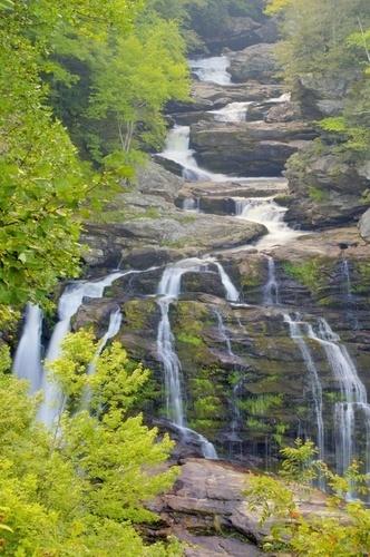 Calasuja Falls Near Franklin, North Carolina.  Been there and it's beautiful.  NC has lots of waterfalls.