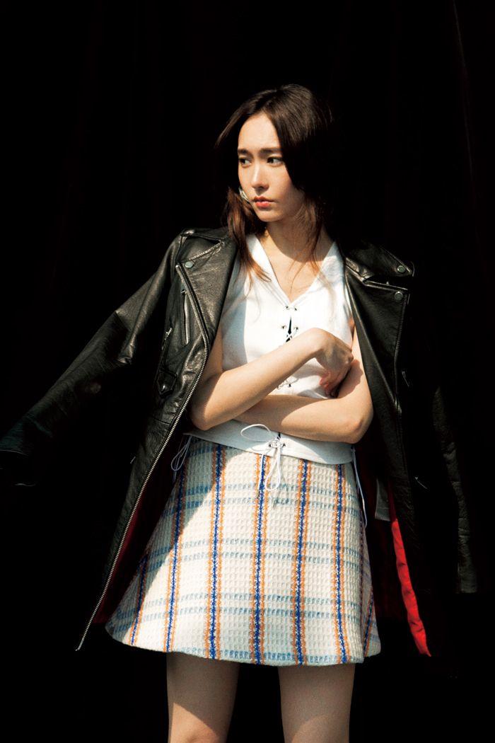 Yui Aragaki jacket : #DIESEL / tops : #Bubbles / skirt : #nanushka