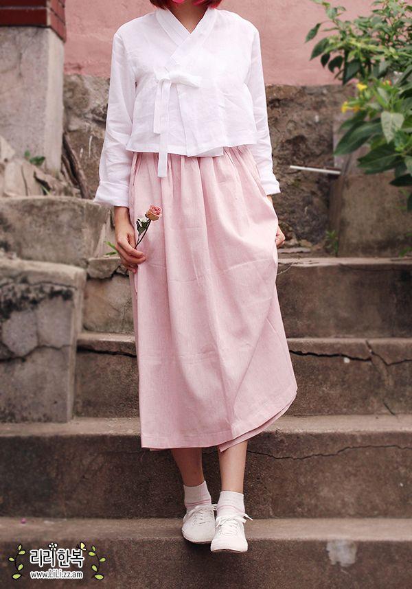 Korean hanbok 긴 허리치마 - 딸기우유(핑크) : 네이버 블로그