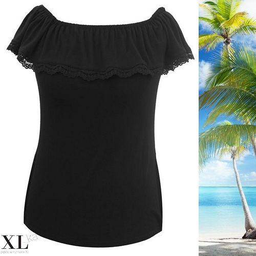 Czarna bluzka hiszpanka | Bluzka na lato xxl | Bluzka hiszpanka plus size na xl-ka.pl | #bluzkahiszpanka #plus size