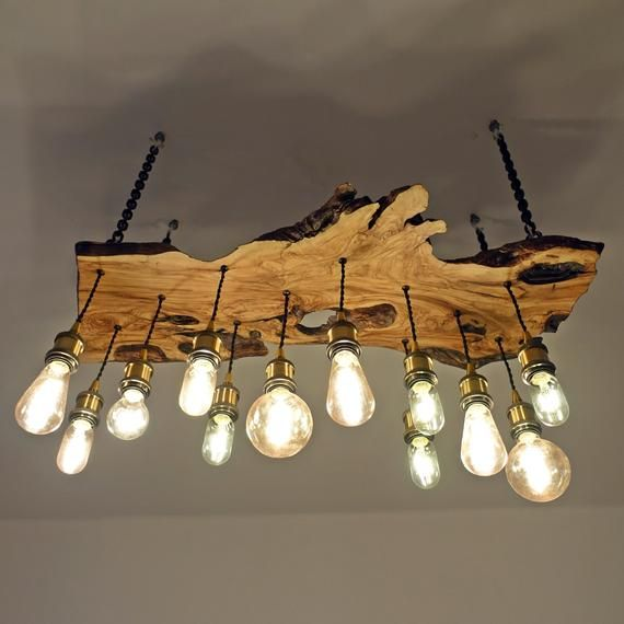 Olive wood chandelier edison light bulbs modern Artist lamp rustic raw wood lamp