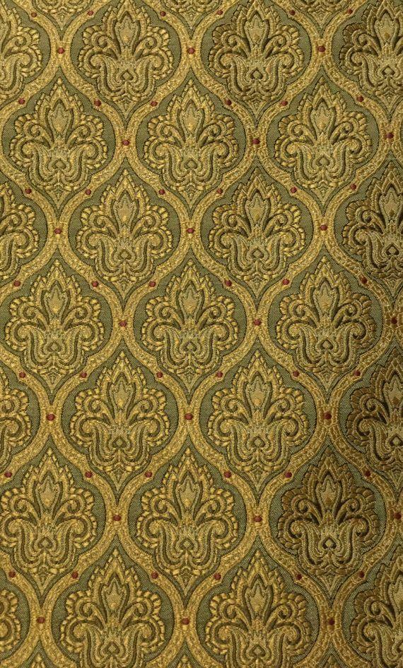 Small Gold Damask Upholstery Fabric By The Yard Fabrics Fabric