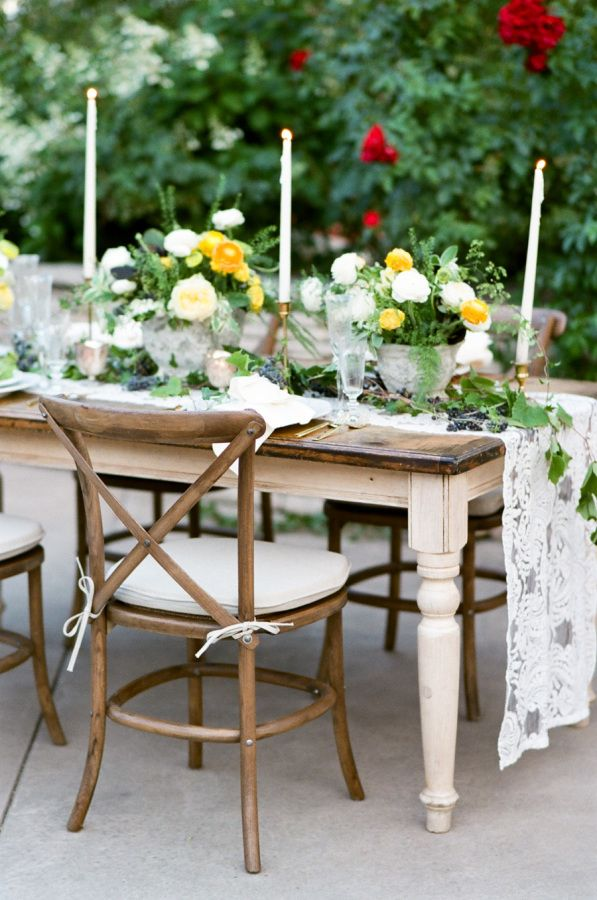 Beautiful Tuscan-inspired table decor with lace table runner: http://www.stylemepretty.com/little-black-book-blog/2016/11/10/yellow-fall-wedding-inspiration-shoot/ Photography: Tamara Gruner - http://tamaragruner.com/