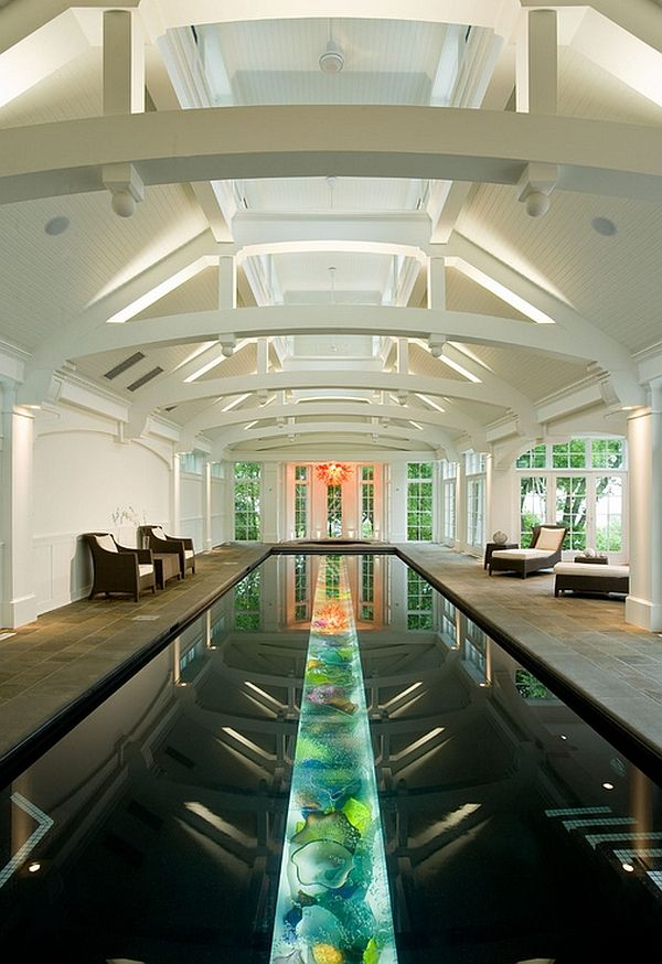 a lighted trough filled with art glass at the bottom makes the pool shine a cool pool eclectic pool milwaukee deep river partners