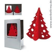Kreative Kundengeschenke: Treecard, silberne Werbeartikel Grußkarte für Weihnachten