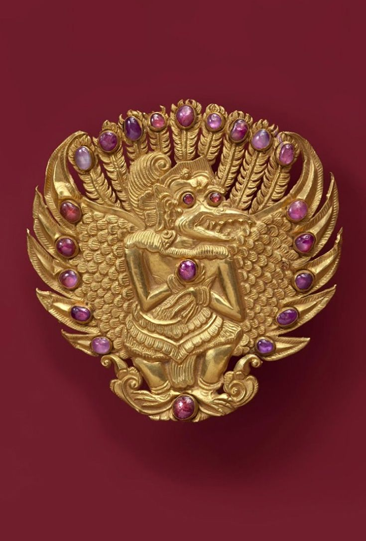 Indonesia ~ Bali   Brooch; gold and rubies   Late 19th century     {GPA}