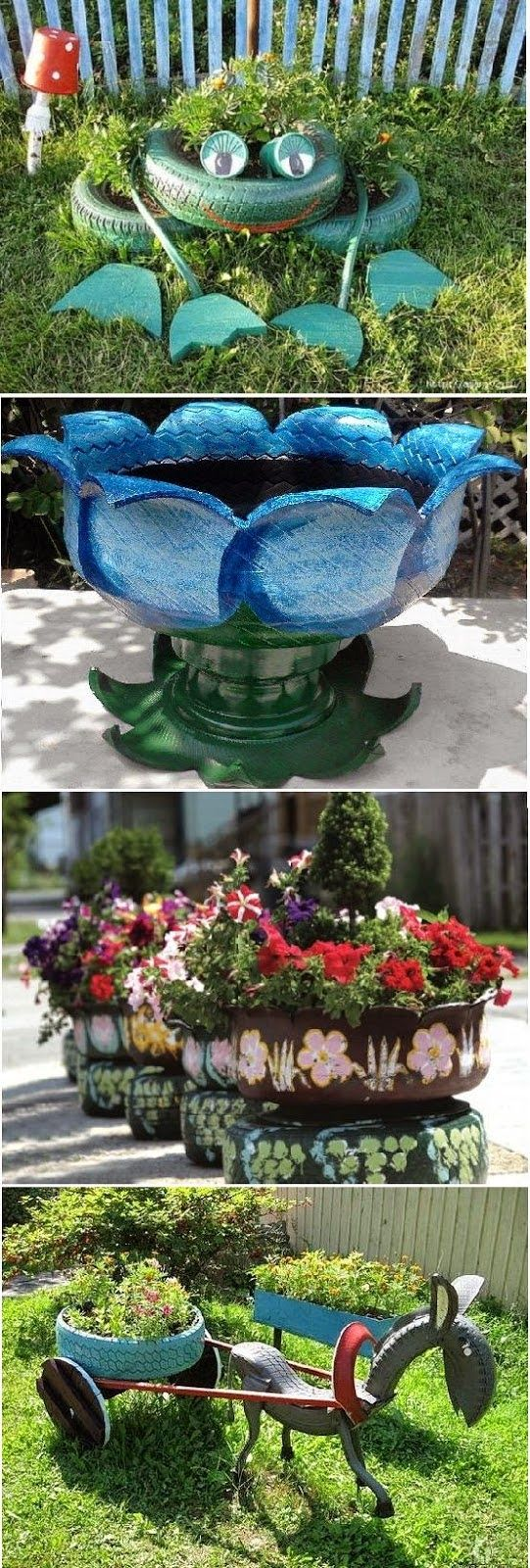 Use old tires... Great Idea for Garden!!!   Outdoor Areas