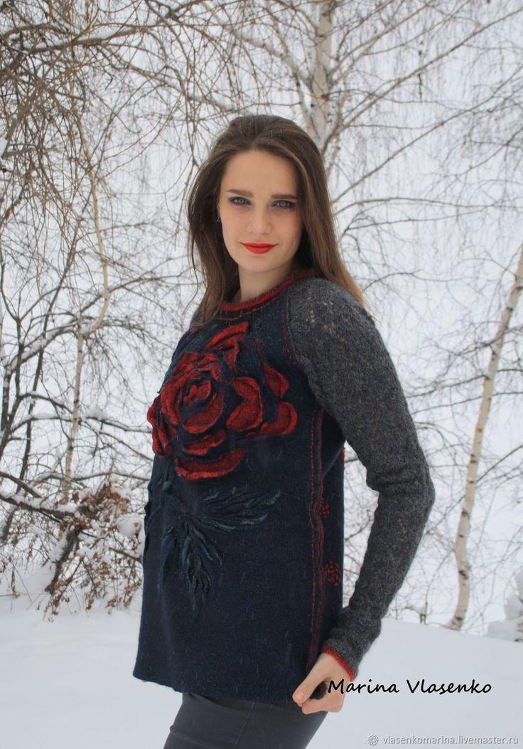 Свитер валяно-вязаный Темная роза – купить или заказать в интернет-магазине на Ярмарке Мастеров | Валяно-вязаный свитер: войлочная основа и…