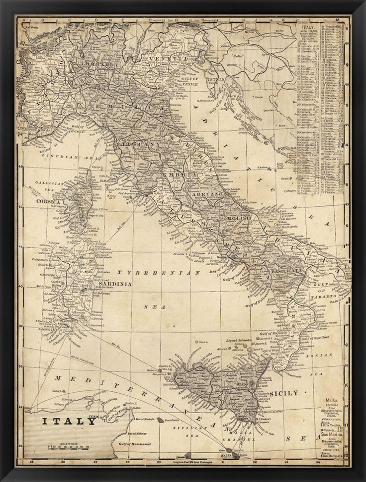 Antique Map of Italy by Vision studio Framed Art Print Wall Picture, Black Frame, 32 x 42 inches