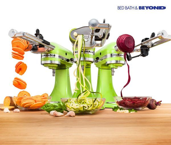 """""""The KitchenAid sprializer attachment lets you sprialize, slice, core and peel fruits and veggies so you can put a fresh and healthy spin on any recipe. Here's how: - Effortlessly peel and core apples for homemade pies or a healthy snack. - Sprialize zucchini or summer squash to replace traditional noodles in any recipe. - Achieve perfect slices of fresh fruits and veggies that are fantastic for recipes or for upping food presentation. """""""