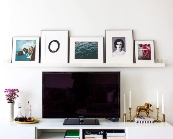 Styling A Tv Stand With An Art Gallery Ledge Above Tv Decor Tv