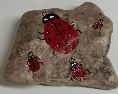 : Gardens Stones, Paintings Rocks 001, Rocks Gardens, Paintings Stones, Paintings Gardens, Pet Memories, Ladybugs Rocks, Pet Rocks, Gardens Rocks