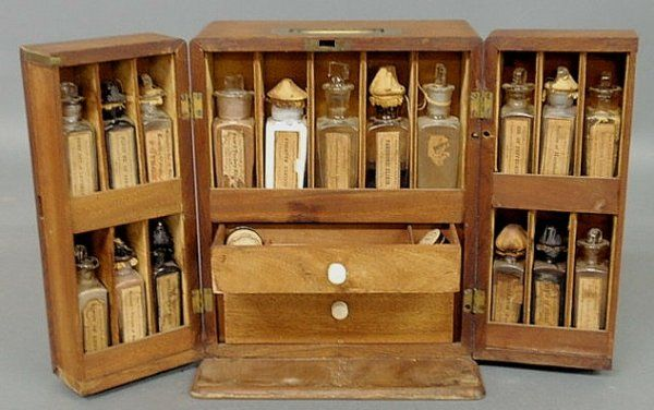 """Antique traveling apothecary kit. """"Silas, the paregoric acid, please."""""""
