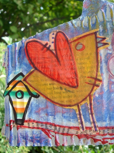 """WALL DÉCOR /CARD MIXED MEDIA CARDBOARD PAINTING """"A LITTLE BIRD TOLD ME…"""""""
