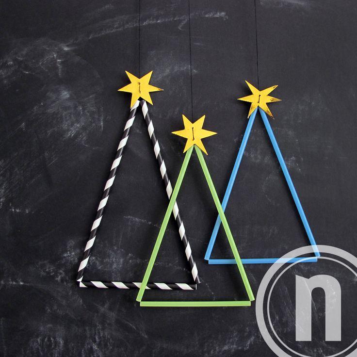DIY Julepynt af sugerør. Nemt projekt sammen med børnene i julen.