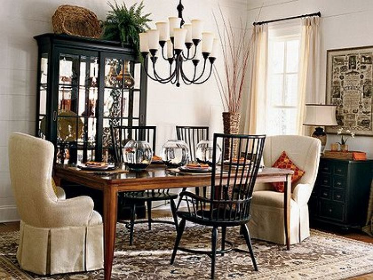 Cozy Dining Room Inspiration Black Hutch Farmhouse Table Captain Chairs Chandelier And Chest