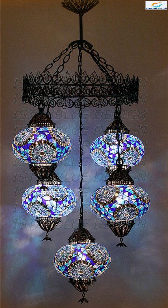 Anotolian Filigree Turkish Mosaıc Chandelier 5 Globe Blown Glass Mosaic lamps