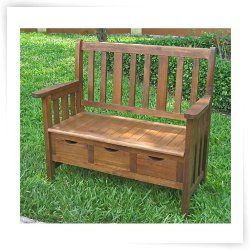 International Caravan Acacia 39 in. Outdoor Patio Bench with Drawers
