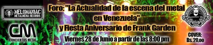 """Cresta Metálica Producciones » Foro: """"La Actualidad de la escena del metal en Venezuela"""" este 28 de Junio en Frank Garden Bar!!!"""