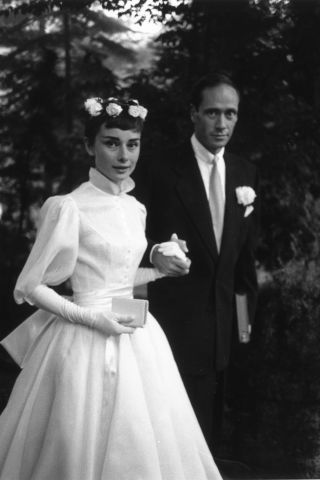 19 vintage celebrity wedding photos that are truly gorgeous: Audrey Hepburn and Mel Ferrer