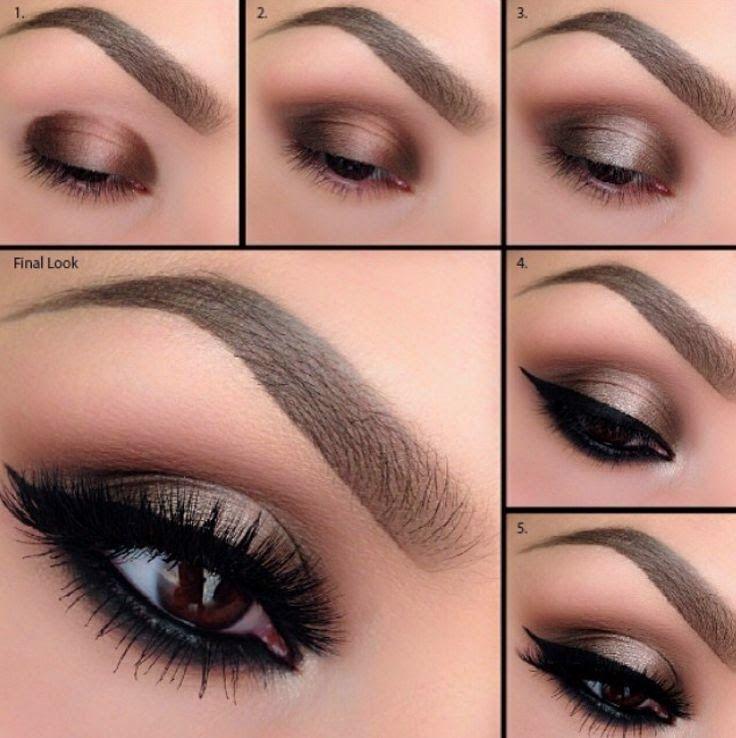 Tutoriales de maquillaje en 5 colores diferentes - 1.Sombra marrón