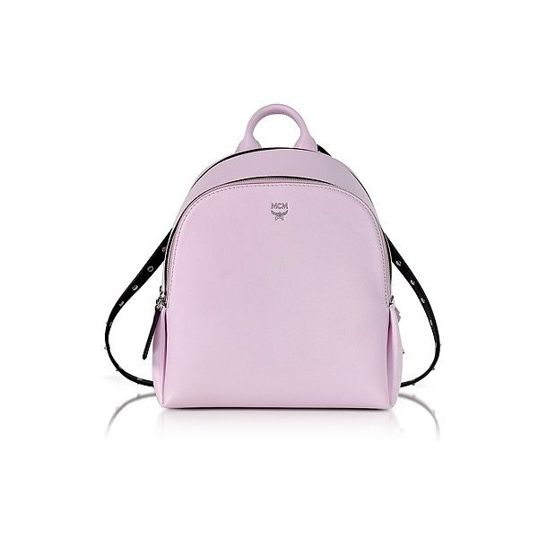 MCM Handbags Pink Leather Polke Studs Mini Backpack (59.105 RUB) ❤ liked on Polyvore featuring bags, backpacks, handbags, pink, mcm backpack, leather daypack, leather knapsack, studded leather backpack and studded backpack