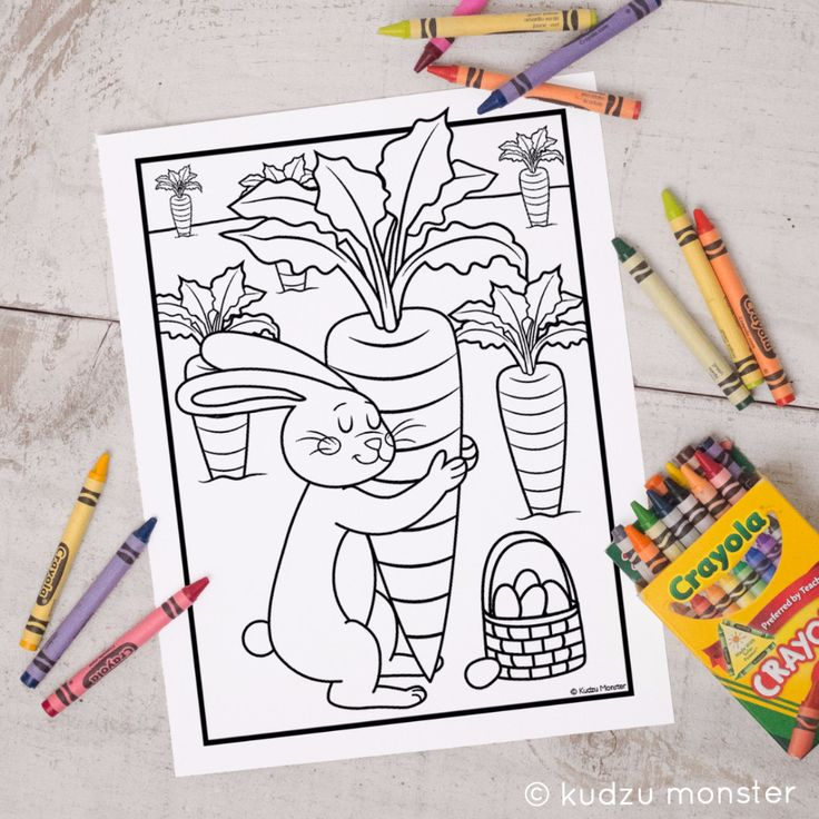 FREE Printable Easter Bunny Coloring Sheet By Kudzu Monster