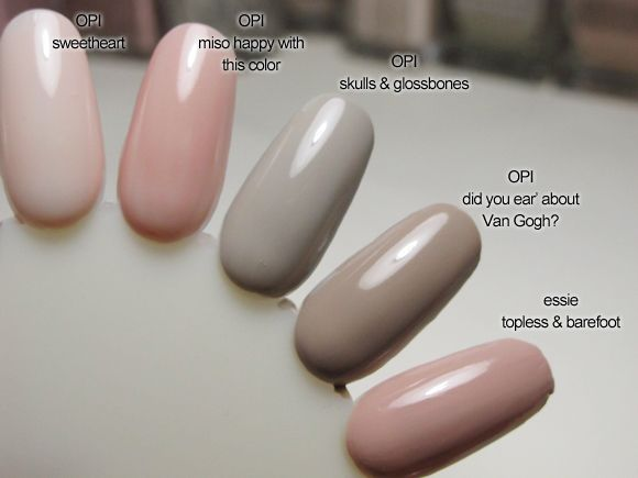 Nude Polish Swatches - OPI: Sweetheart, OPI: Miso Happy With This Color, OPI: Skulls & Glossbones, OPI: Did You 'Ear About Van Gogh?, Essie: Topless & Barefoot