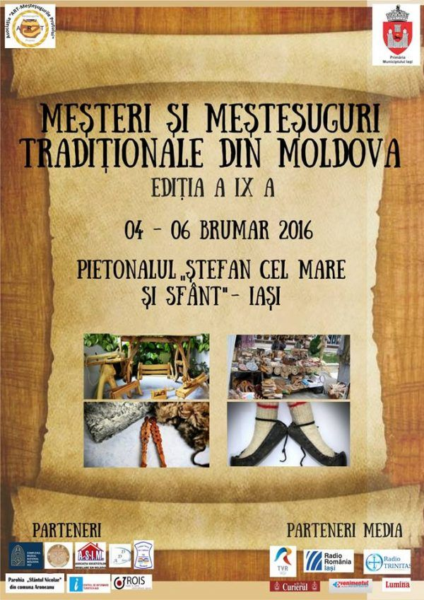 """Mesteri si mestesuguri traditionale din Moldova"", in weekend, la Iasi"