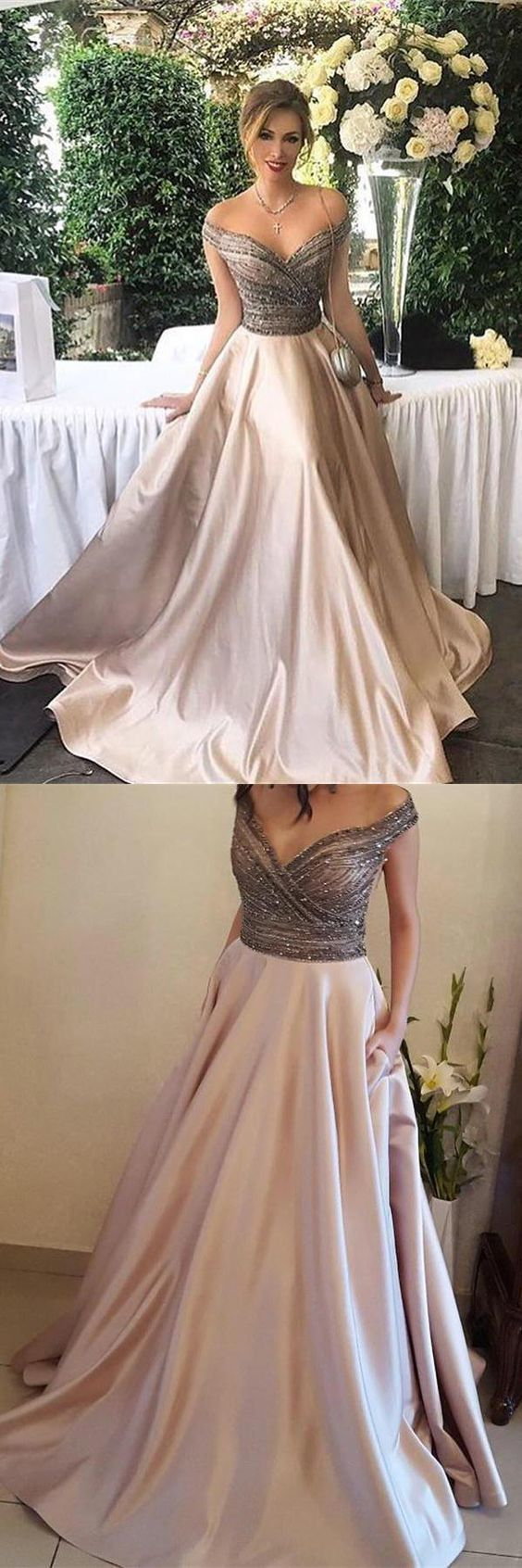Pretty Off The Shoulder Long Beading Satin Elegant Modest Prom