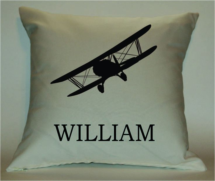 Decorative Airplane Pillow : Personalized Vintage Airplane 18X18 Decorative Pillow Cover by PillowTalkandMoreSTL on Etsy ...