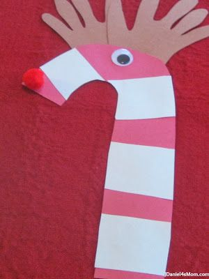 {Christmas Craft} Candy Cane Reindeer- Great way to work on cutting skills!