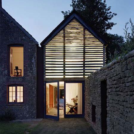 The Dairy House by Charlotte Skene Catling is made of alternate bands of timber and glass