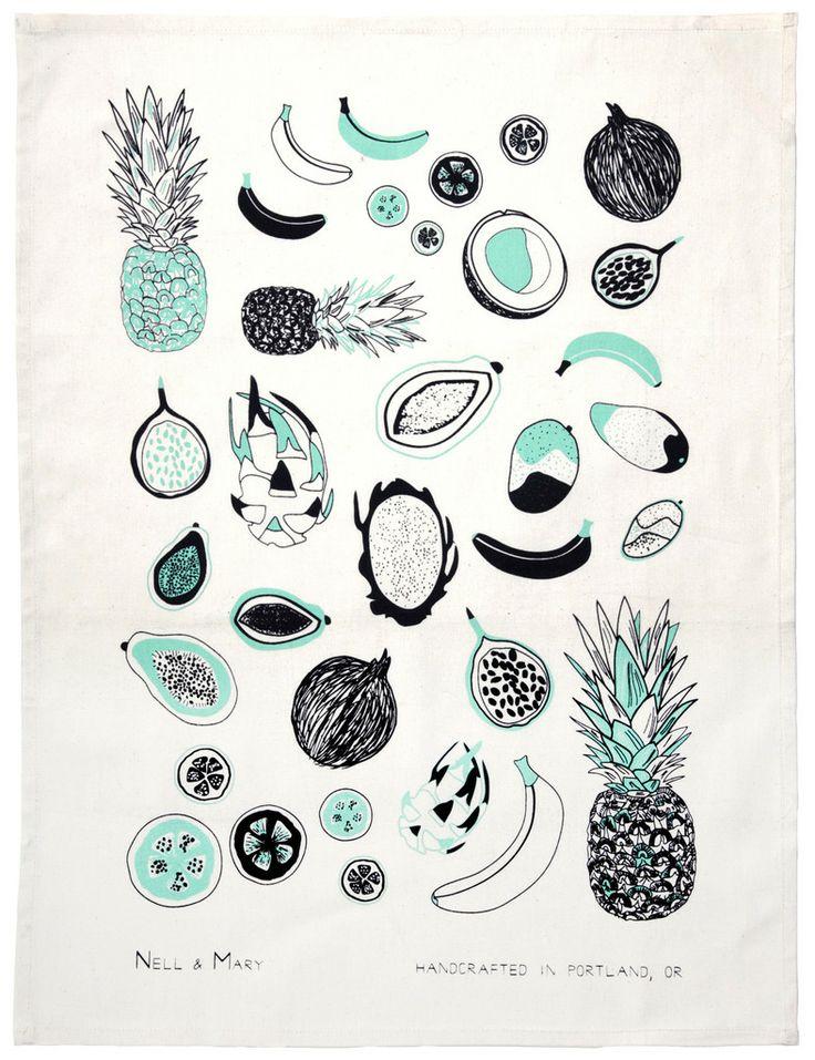 Tropical Fruit Tea Towel - Mint   Nell & Mary
