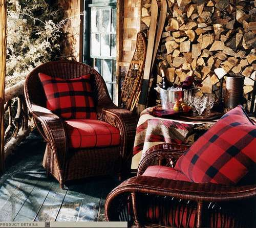 Red plaid cushions on wicker chairs and skis........   Image is fromdragonflydesigns.zzn.com
