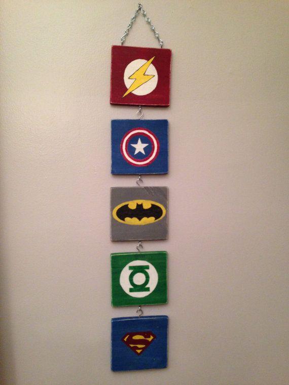 Superhero Wall Art Hanging Flash Superman Batman Captain