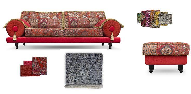 met de oosterse en kleurrijke casablanca kun je eindeloos combineren met kleuren en stoffen nu met poef cadeau#oosters#kleurrijke bank#casablanca bank#dutch seating company#made in holland