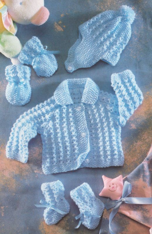 "Baby Jacket with Collar Hat Mittens Bootees 12"" - 22"" DK Knitting Pattern 