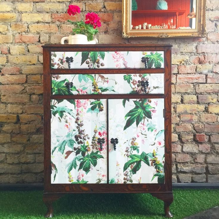 Upcycled Vintage Tallboy Chest Of Drawers Decoupaged In House Of Hackney