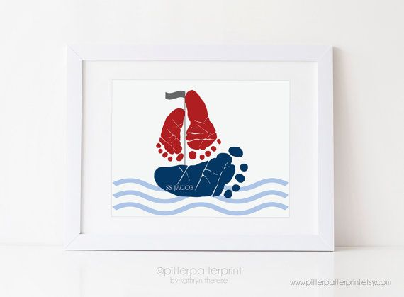 Sailboat Nursery Nautical Art Print Boys Room von PitterPatterPrint